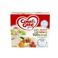 Cow & Gate 苹果&杏子&草莓果泥罐头(4-36个月起) 4×100g/盒