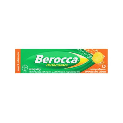 Berocca 拜维佳 维生素B+C+钙镁锌水溶泡腾片(香橙味) 15片