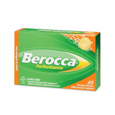 Berocca 拜维佳 维生素B+C+钙镁锌水溶泡腾片(香橙味) 45片