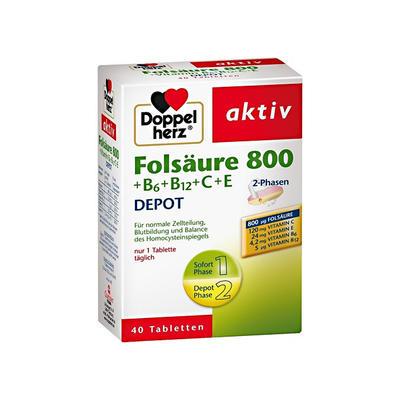 Doppelherz 双心 叶酸800+维生素B族营养片 40片