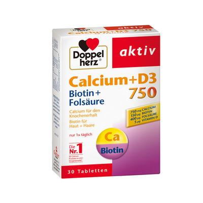 Doppelherz 双心 钙750+D3+生物素营养片 30粒
