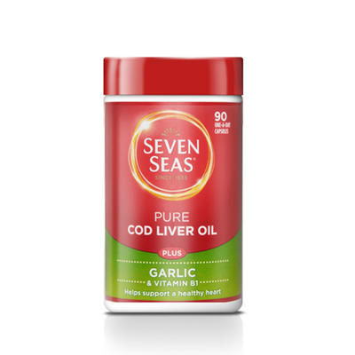 Seven Seas 七海 纯正鱼肝油+大蒜提取物营养胶囊 90粒