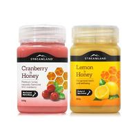 【2瓶包邮】Streamland 蔓越莓蜂蜜 + 柠檬蜂蜜 2*500g/瓶