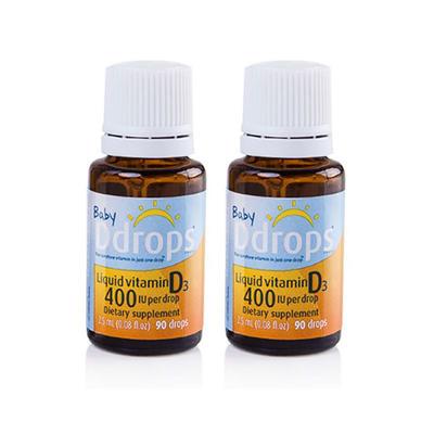 【2件包邮装】Ddrops 天然婴儿维生素D3补钙滴剂 2*2.5ml/瓶(美版)