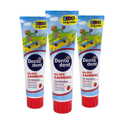 【3件包邮装】Dontodent 可吞咽抗龋齿婴幼儿牙膏 3*100ml/支(适合1-6的宝宝/草莓味)