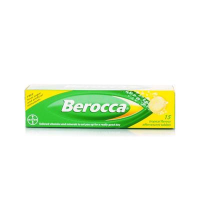 Berocca 拜维佳 维生素B+C+钙镁锌水溶泡腾片(热带水果味) 15片