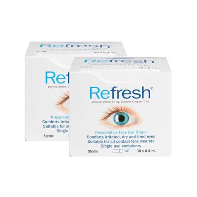【2件包邮装】Refresh 滴眼液眼药水 2*30支/盒(独立包装/抗疲劳无防腐剂)