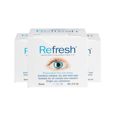 【3件包邮装】Refresh 滴眼液 3*30支/盒(独立包装/无防腐剂)