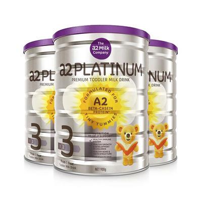 【3件包邮装】A2 白金系列 婴幼儿配方奶粉 3段 3*900g/罐(适合1-3岁的宝宝)