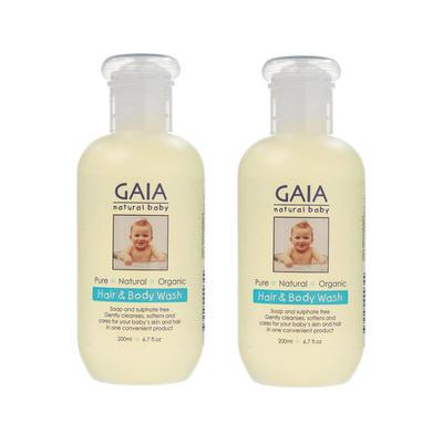 【2件包邮装】Gaia 纯天然婴儿洗发沐浴露2合1 2*200ml/瓶