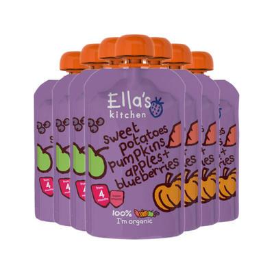 【七袋包邮】Ella's Kitchen 艾拉厨房 有机红薯&南瓜&苹果&蓝莓混合果蔬泥 120g(4个月以上的宝宝)