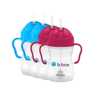 【4件包邮装】B.box 婴幼儿重力球吸管杯 防漏 4*240ml/个(玫红色+深蓝色)