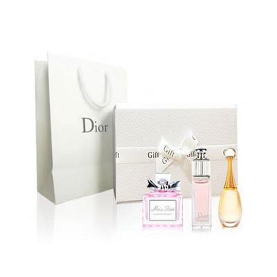 【包邮装】Dior 迪奥 香水小样3件套礼盒装 含手提袋(真我+魅惑+花漾各5ml)